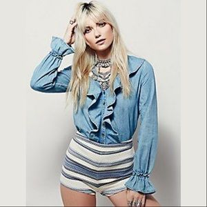 Free People Lovely In Ruffles Chambray Button Up L